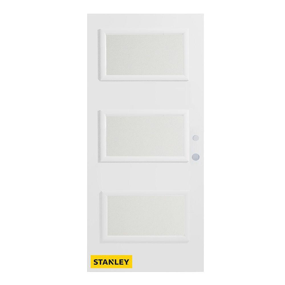 STANLEY Doors Porte d'entré en acier préfini en blanc, munie de 3 panneaux de verres, 34 po x 80 po, ouverture vers l'intérieur à gauche - ENERGY STAR®