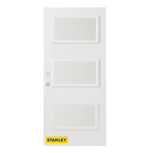 35.375 inch x 82.375 inch Dorothy 3-Lite Rosemary Prefinished White Right-Hand Inswing Steel Prehung Front Door - ENERGY STAR®