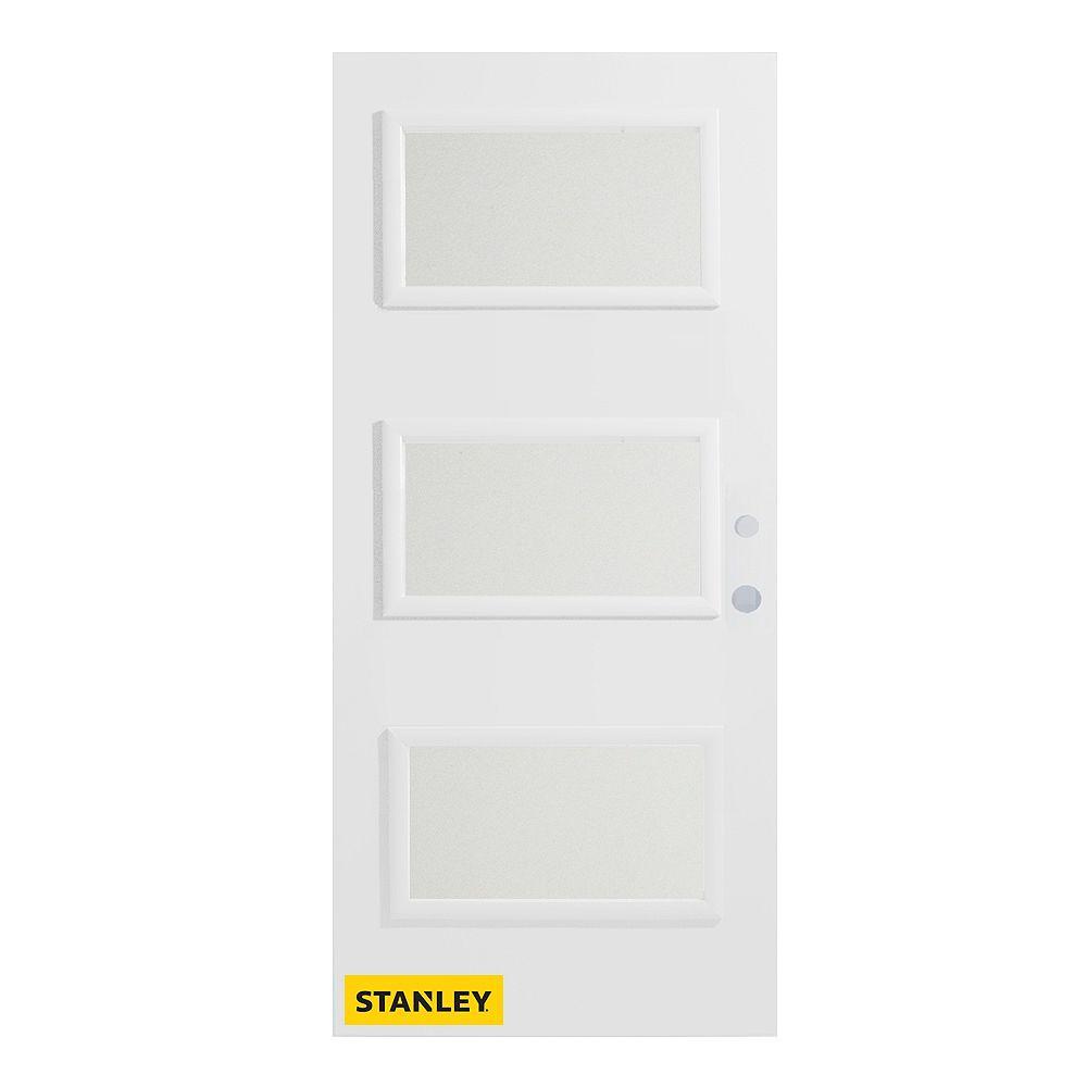 STANLEY Doors Porte d'entré en acier préfini en blanc, munie de 3 panneaux de verres, 36 po x 80 po, ouverture vers l'intérieur à gauche - ENERGY STAR®