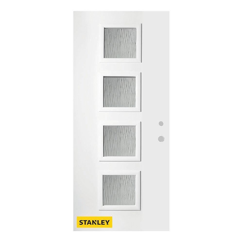 STANLEY Doors Porte d'entré en acier préfini en blanc, munie de 4 panneaux de verres, 36 po x 80 po, ouverture vers l'intérieur à gauche - ENERGY STAR®