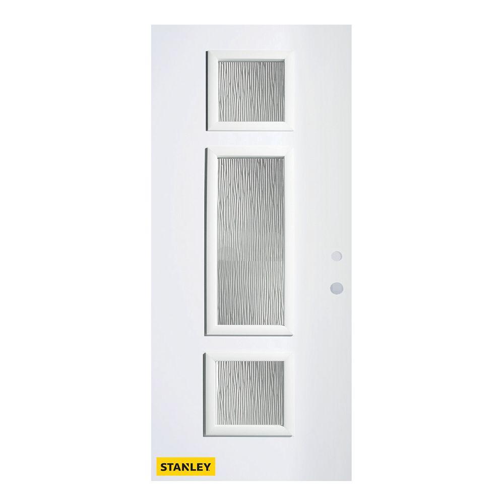 STANLEY Doors 33.375 inch x 82.375 inch Marjorie 3-Lite Screen Prefinished White Left-Hand Inswing Steel Prehung Front Door