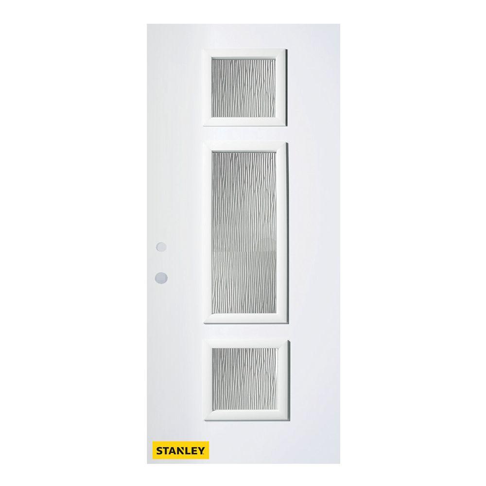 STANLEY Doors Porte d'entré en acier préfini en blanc, munie de 3 panneaux de verres, 32 po x 80 po, ouverture vers l'intérieur à droite - ENERGY STAR®