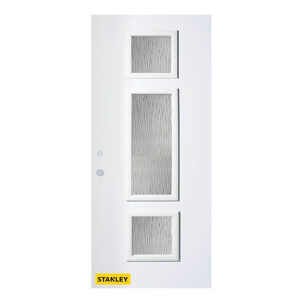 STANLEY Doors Porte d'entré en acier préfini en blanc, munie de 3 panneaux de verres, 34 po x 80 po, ouverture vers l'intérieur à droite - ENERGY STAR®