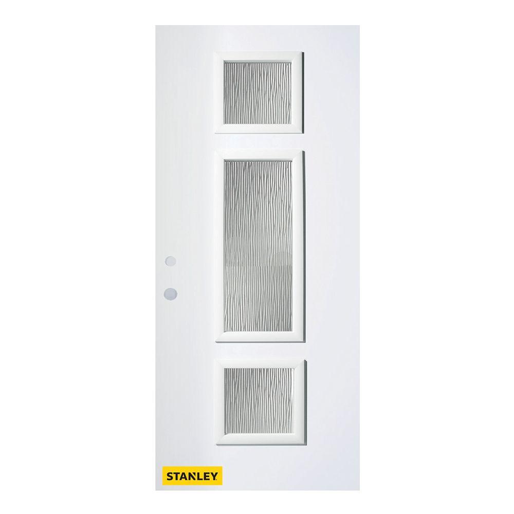 STANLEY Doors Porte d'entré en acier préfini en blanc, munie de 3 panneaux de verres, 36 po x 80 po, ouverture vers l'intérieur à droite - ENERGY STAR®