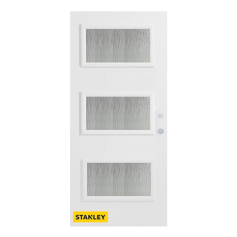 STANLEY Doors Porte d'entré en acier préfini en blanc, munie de 3 panneaux de verres, 34 po x 80 po, ouverture vers l'intérieur à gauche