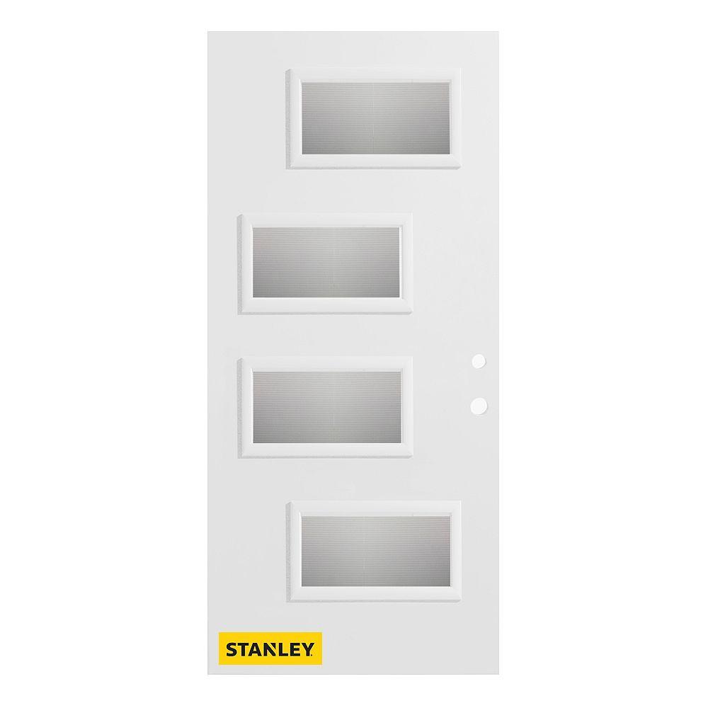 STANLEY Doors Porte d'entré en acier préfini en blanc, munie de 4 panneaux de verres, 34 po x 80 po, ouverture vers l'intérieur à gauche - ENERGY STAR®