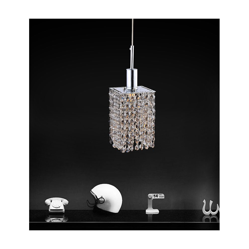 CWI Lighting Square Single Pendant With Double Strand Smoke Crystals On A Round Canopy