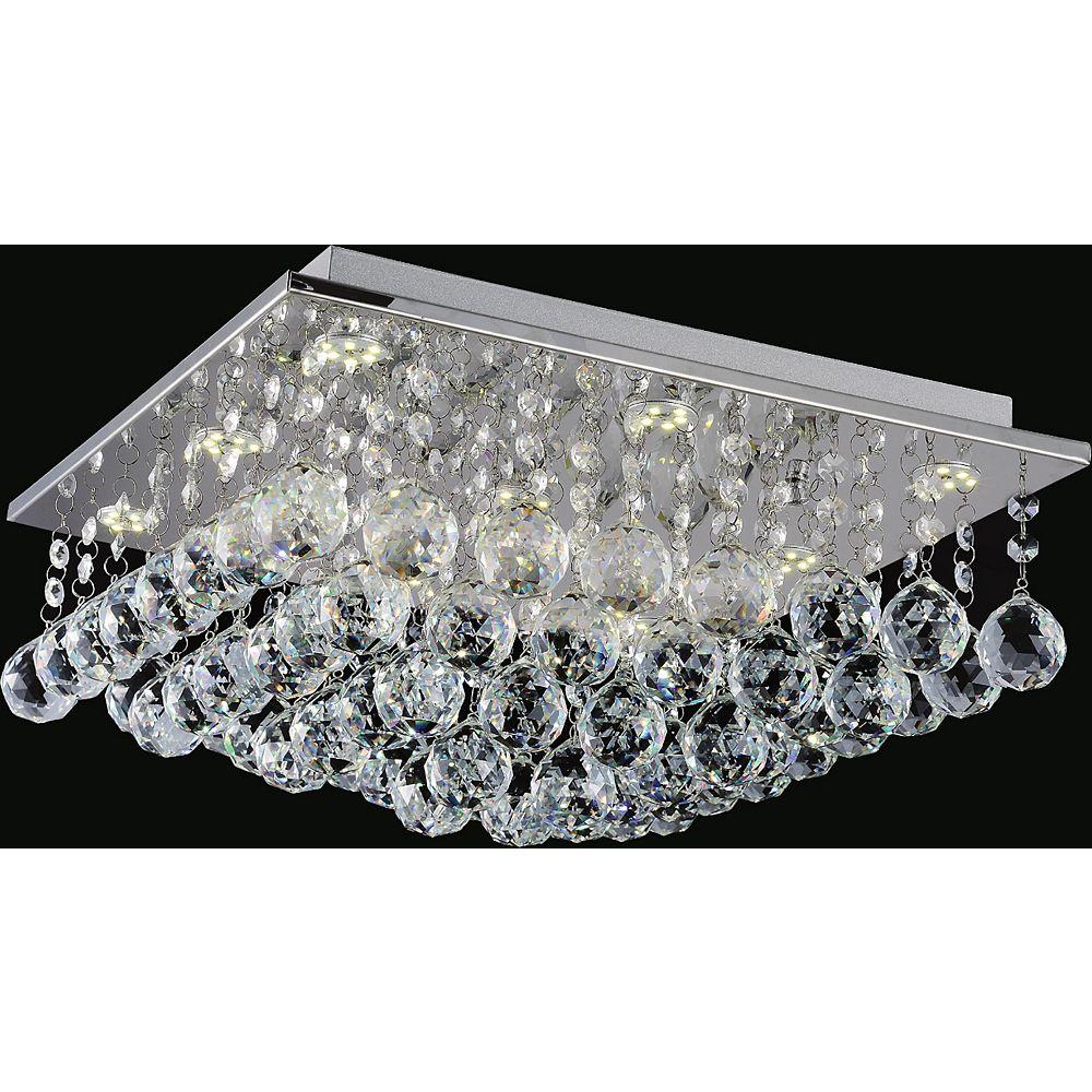 CWI Lighting Plafonnier carré de 16 po orné de cristaux suspendus