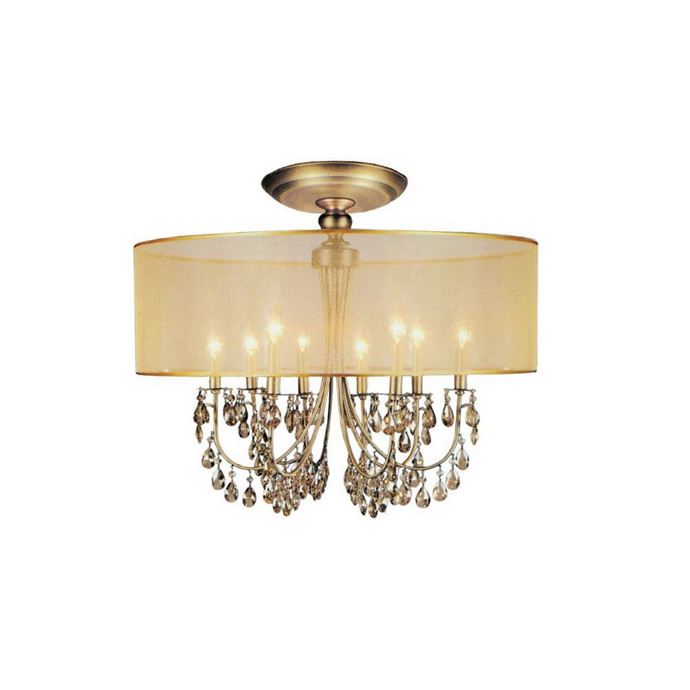 CWI Lighting 28 Inch Round Antique Brass Fixture With Gold Shade