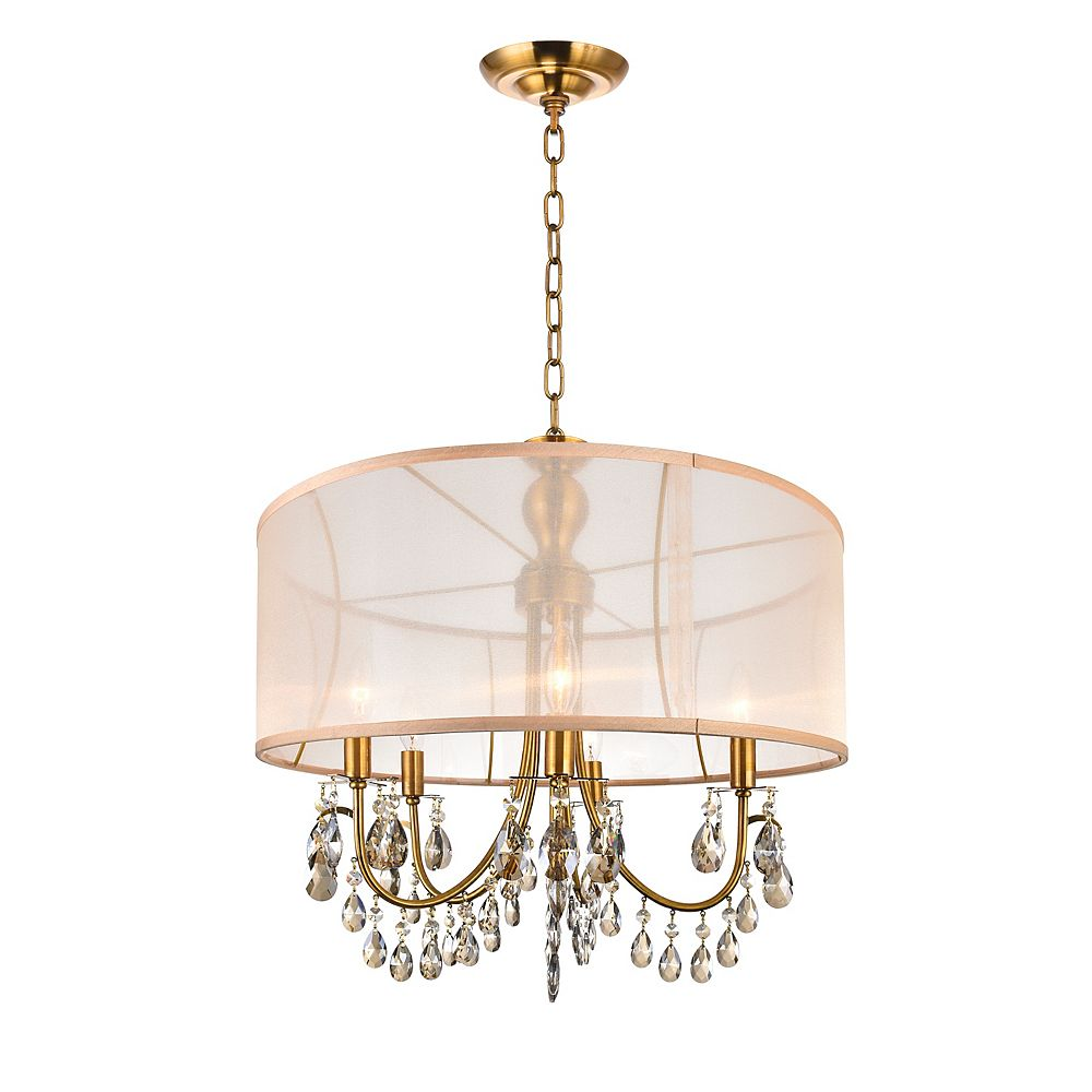 CWI Lighting 22 Inch Pendant Antique Brass Fixture With Gold Shade