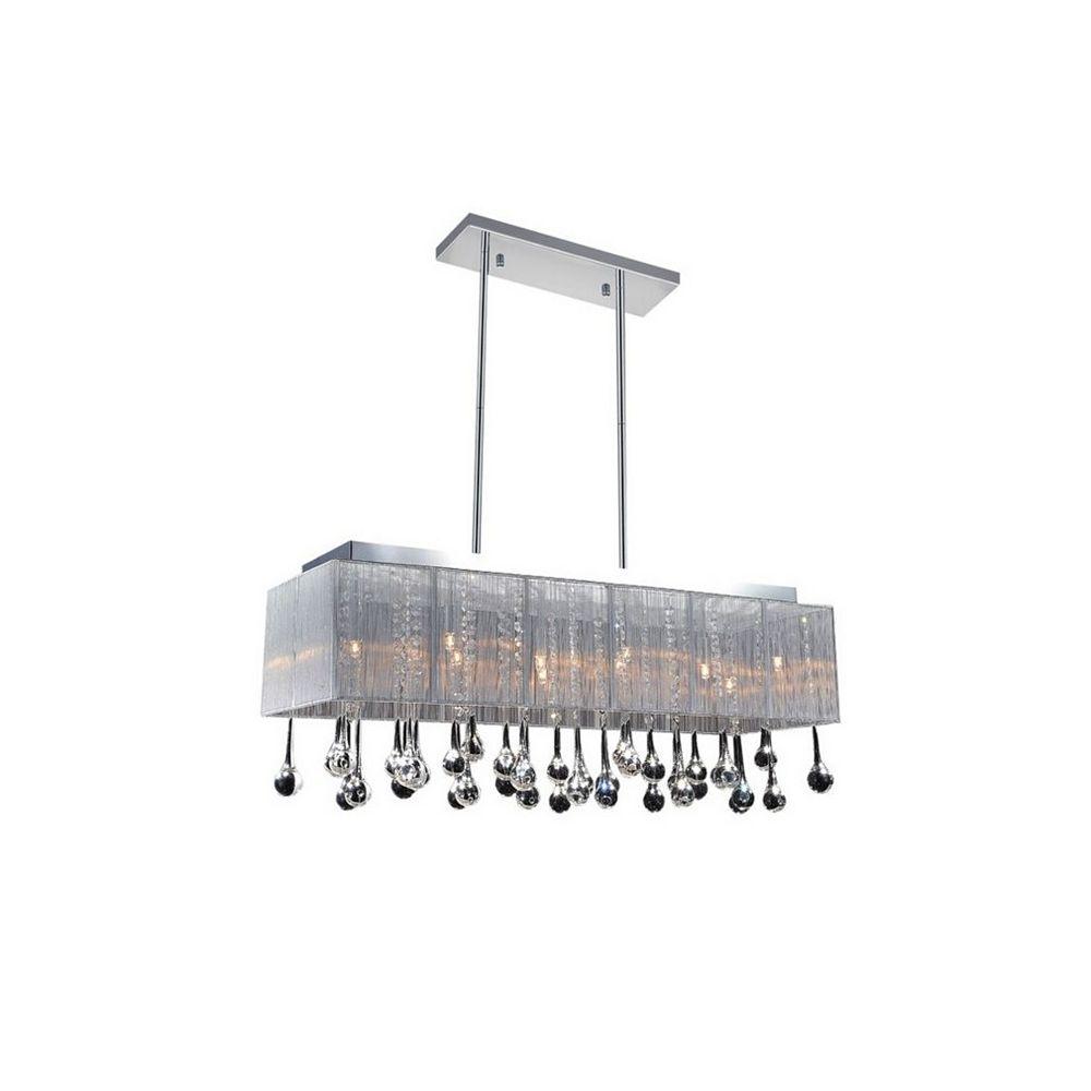 CWI Lighting Suspension rectangulaire de 40 po avec abat-jour argenté