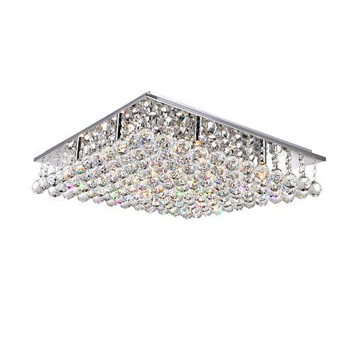 Plafonnier carré de 24 po avec cristaux suspendus