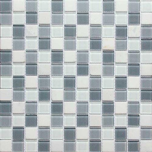 Carreau mural mélange de verre et de marbre blanc, 4 mm - 2,54 cm x 2,54 cm (1 po x 1 po)