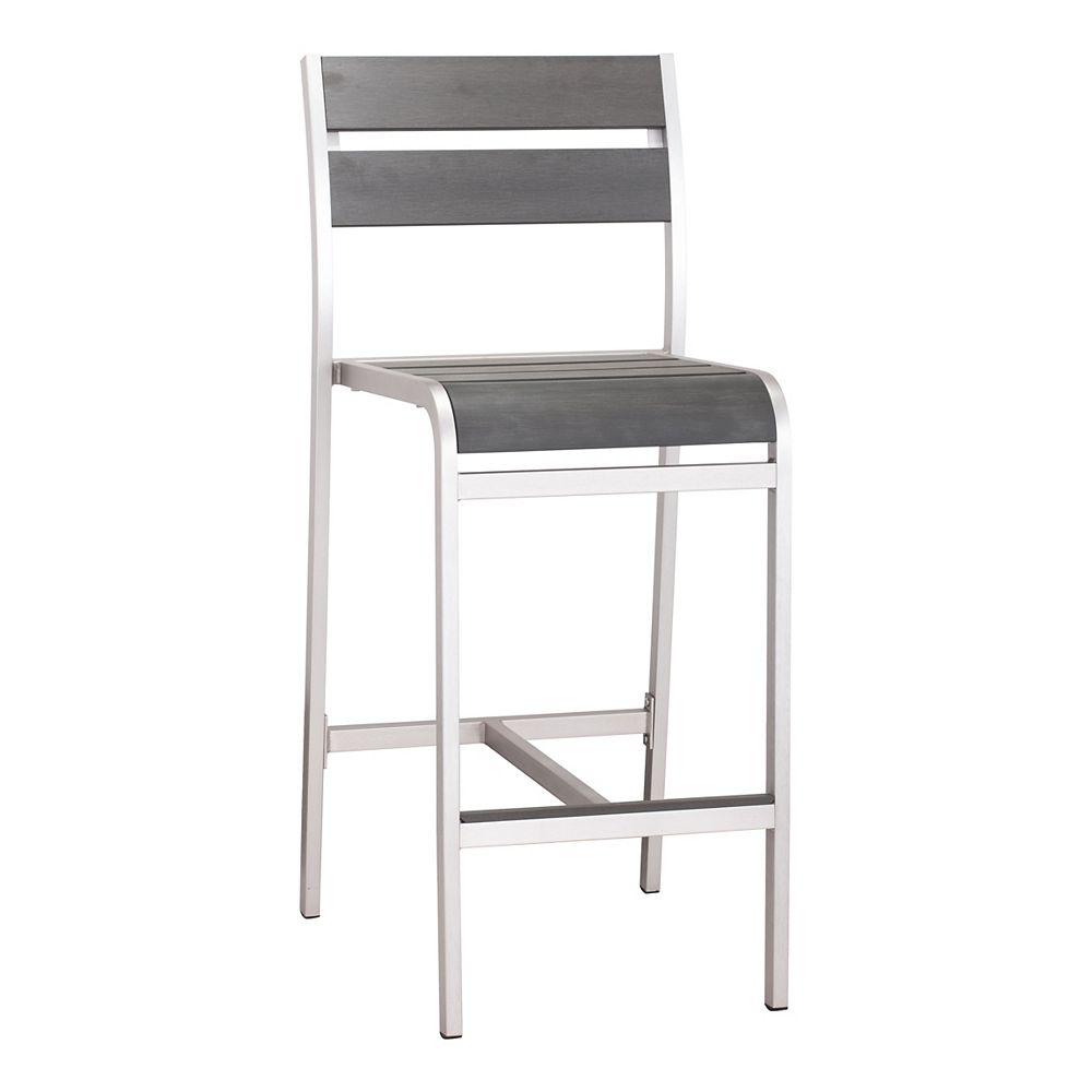 Zuo Modern Chaise Megapolis Bar Aluminium Brossé