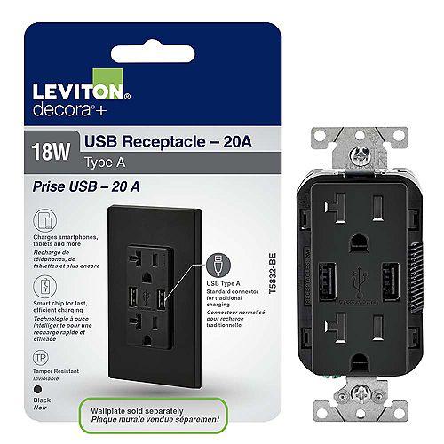 Leviton Decora Chargeur à USB 3.6A et Prise inviolable 20A doubles, noir