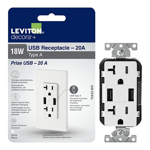 Leviton Decora Duplex USB Charger 3.6A / Tamper Resistant Receptacle 20A, White