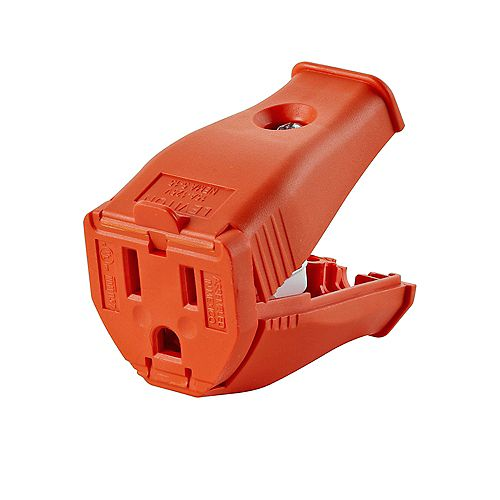 Leviton 2-Pole, 3 Wire Grounding Outlet. Clamptite Hinged Design 15a-125v, nema 5-15p, Orange Thermoplastic.