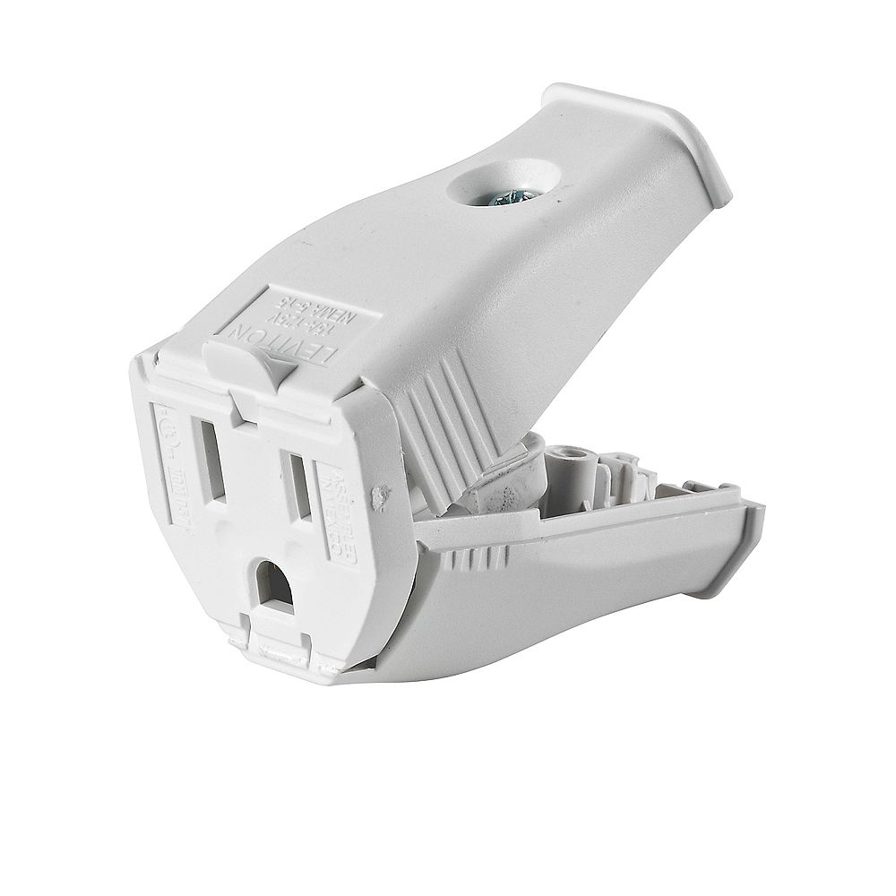 Leviton 2-Pole, 3 Wire Grounding Outlet. Clamptite Hinged Design 15a-125v, nema 5-15p, White Thermoplastic.