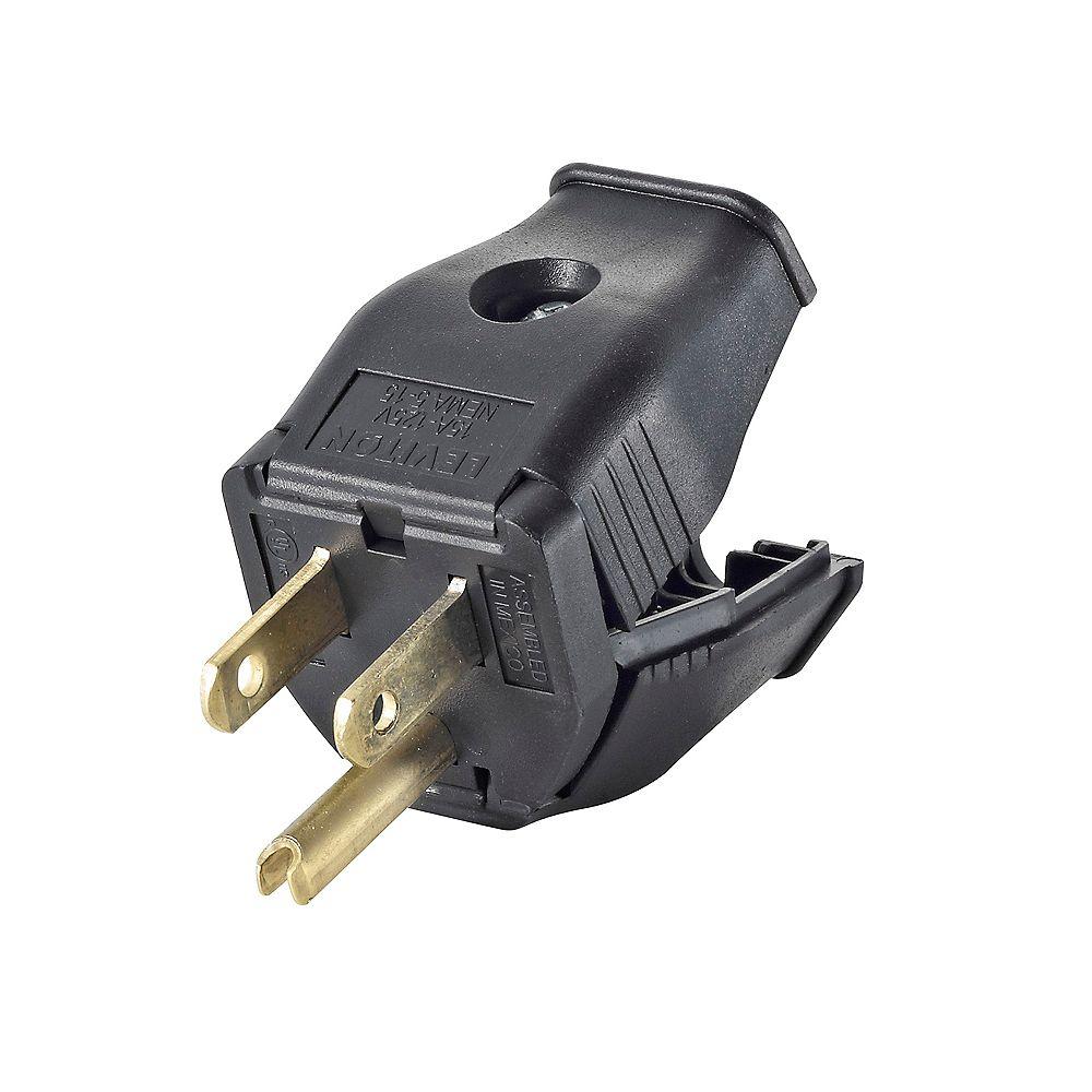Leviton 2-Pole, 3 Wire Grounding Plug. Clamptite Hinged Design 15a-125v, nema 5-15p, Black Thermoplastic.