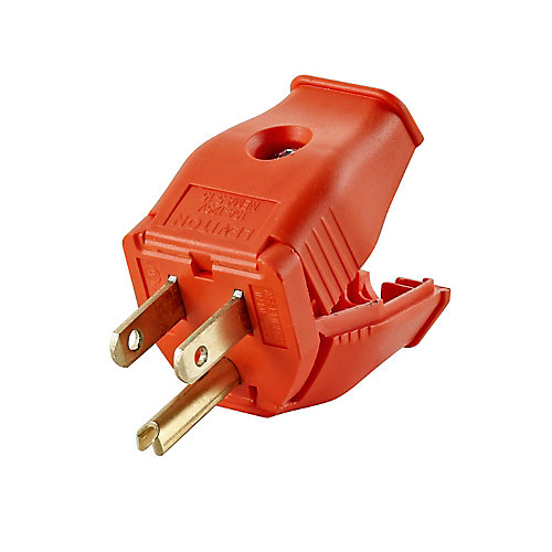 2-Pole, 3 Wire Grounding Plug. Clamptite Hinged Design 15a-125v, nema 5-15p, Orange Thermoplastic.
