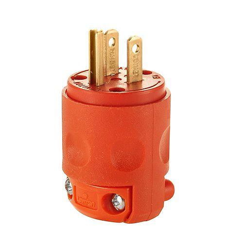 15 Amp, 125 Volt, NEMA 5-15P, 2 Pole, 3 Wire, Plug, Straight Blade - Orange