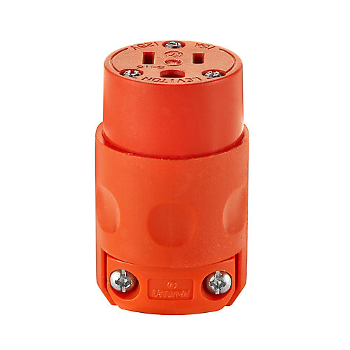15 Amp, 125 Volt, NEMA 5-15R, 2-Pole, 3-Wire Connector, Straight Blade - Orange