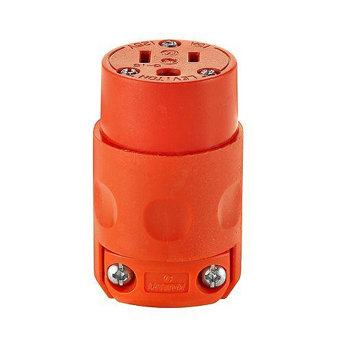 Leviton 15 A, 125 V, NEMA 5-15R, bipolaire, Connecteur trifilaire, lame droite – Orange