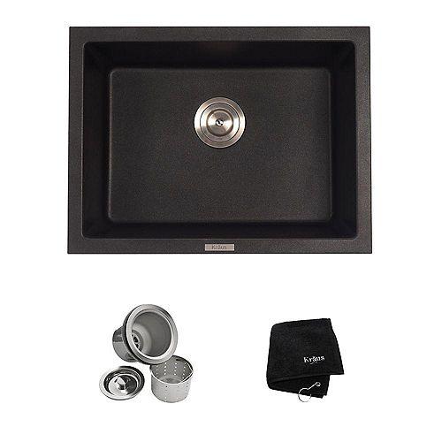 24 2/5 Inch Dual Mount Single Bowl Black Onyx Granite Kitchen Sink