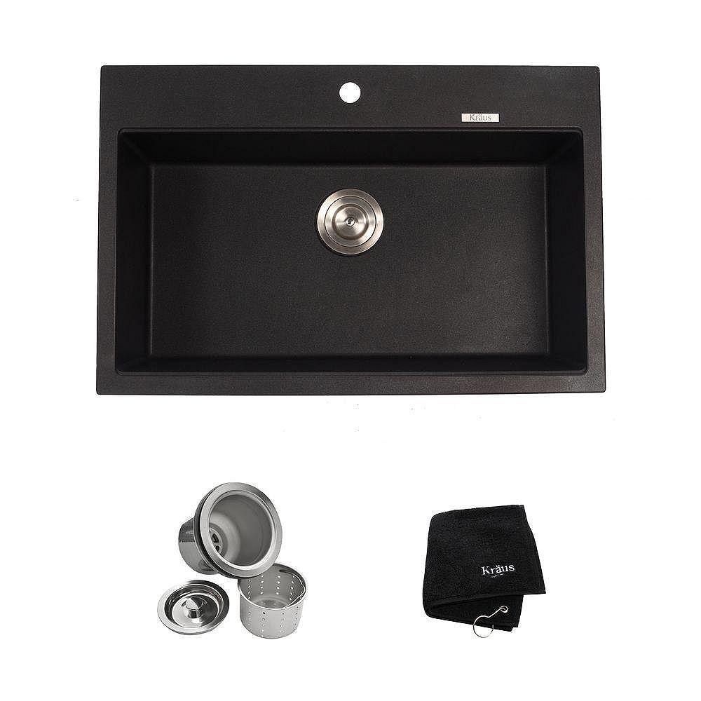 Kraus Évier de cuisine à une cuve à fixation double en granite de couleur noir onyx de 31 1/5 po (79,2 cm)