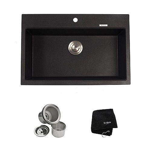 31 1/5 Inch Dual Mount Single Bowl Black Onyx Granite Kitchen Sink