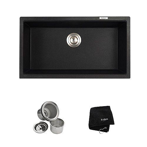 Undermount Granite Composite 32-inch Single Basin Kitchen Sink Kit in Black