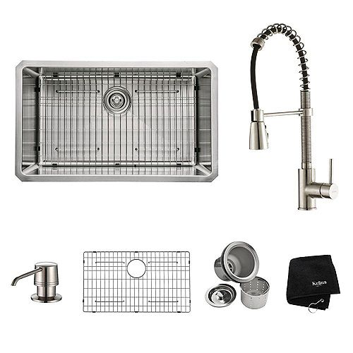 Kraus 30 Inch Undermount Single Bowl Stainless Steel Kitchen Sink with Stainless Steel Finish Kitchen Faucet and Soap Dispenser
