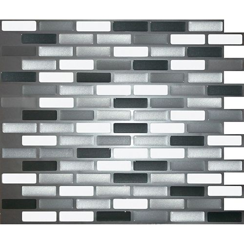 Shiny Greys Oblong Peel and Stick-It Tile 11X9.25 Inch Bulk Pack (8 Tiles)
