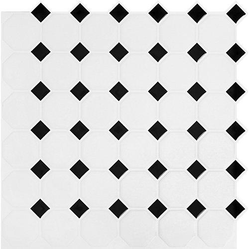 Tuile Noire et blanc octo Stick-It 110.5X10.5 En Gros (8 Tuiles)