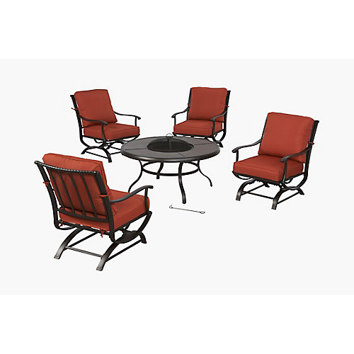 Redwood Valley 5-Piece Metal Patio Fire Pit Seating Set with Quarry Red Cushions