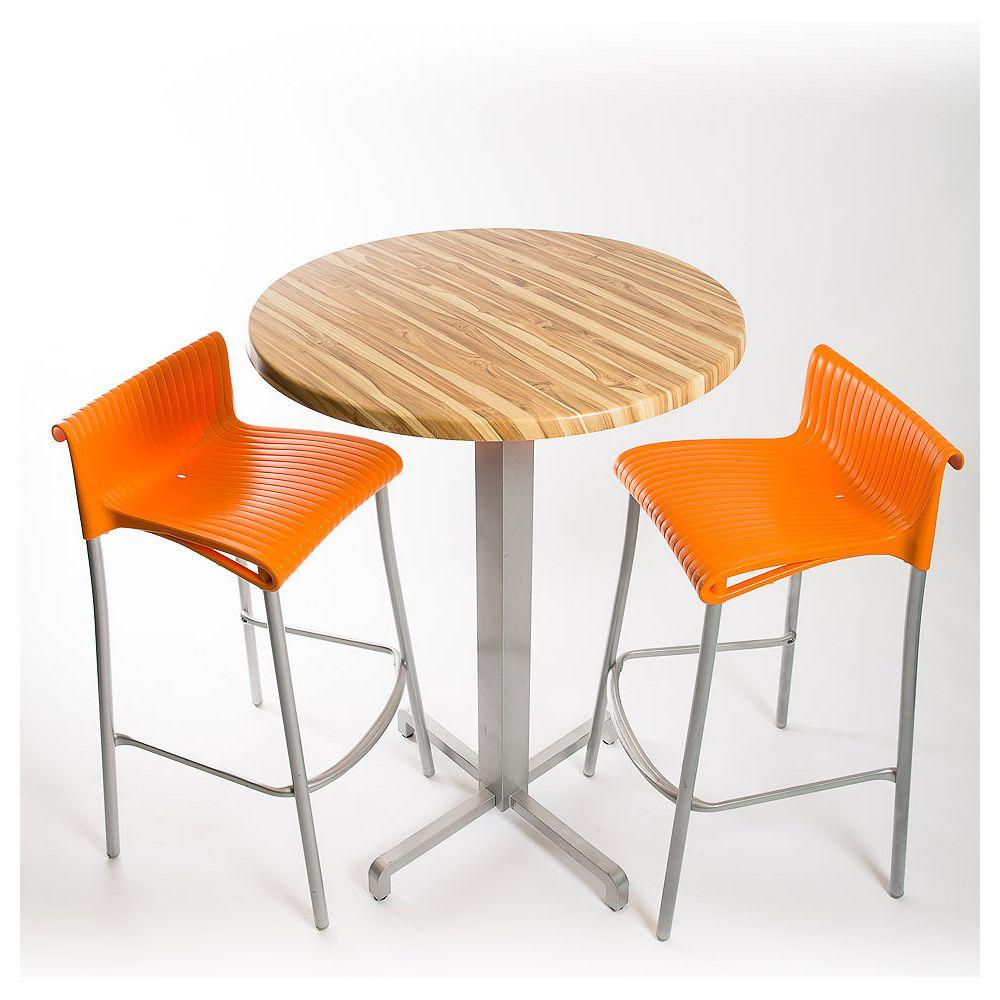 Nardi Nardi Bar Set - 2 x Duca Bar Stools (Orange), 1 x 30 Round Werzalit Top in  Brazilian Walnut Design