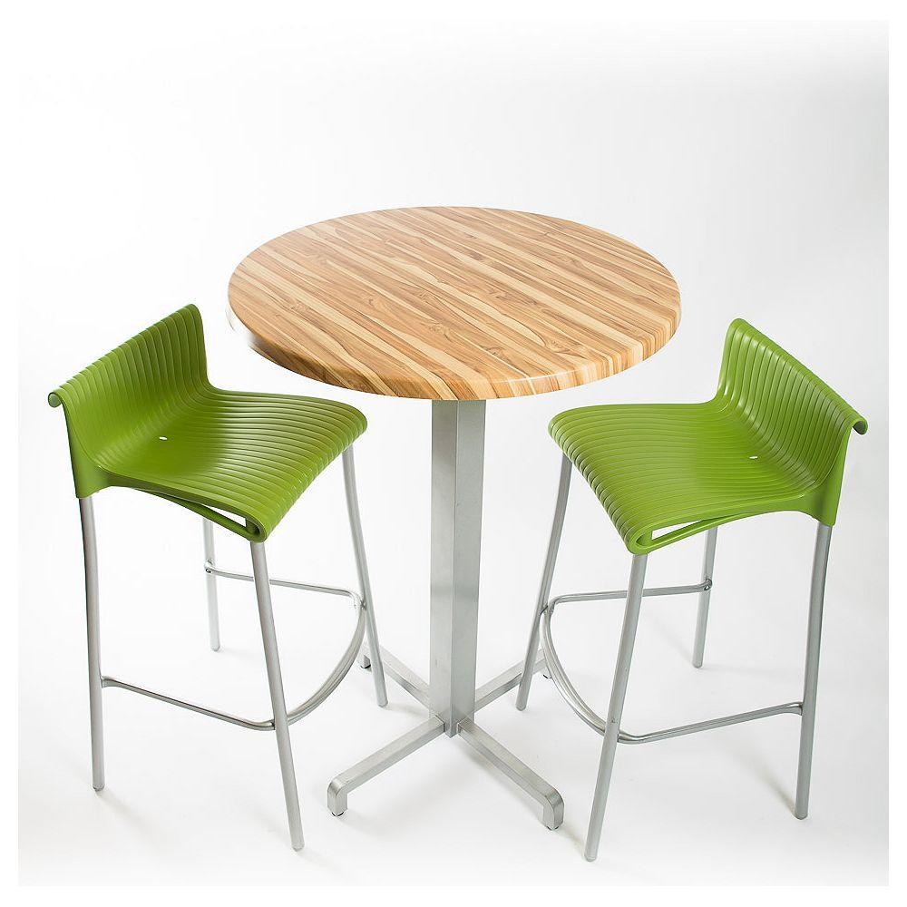 Nardi Ensemble bar - 2 tabourets de bar Duca (vert), 1 x 30 plateaux ronds Werzalit en noyer Brazillian Design