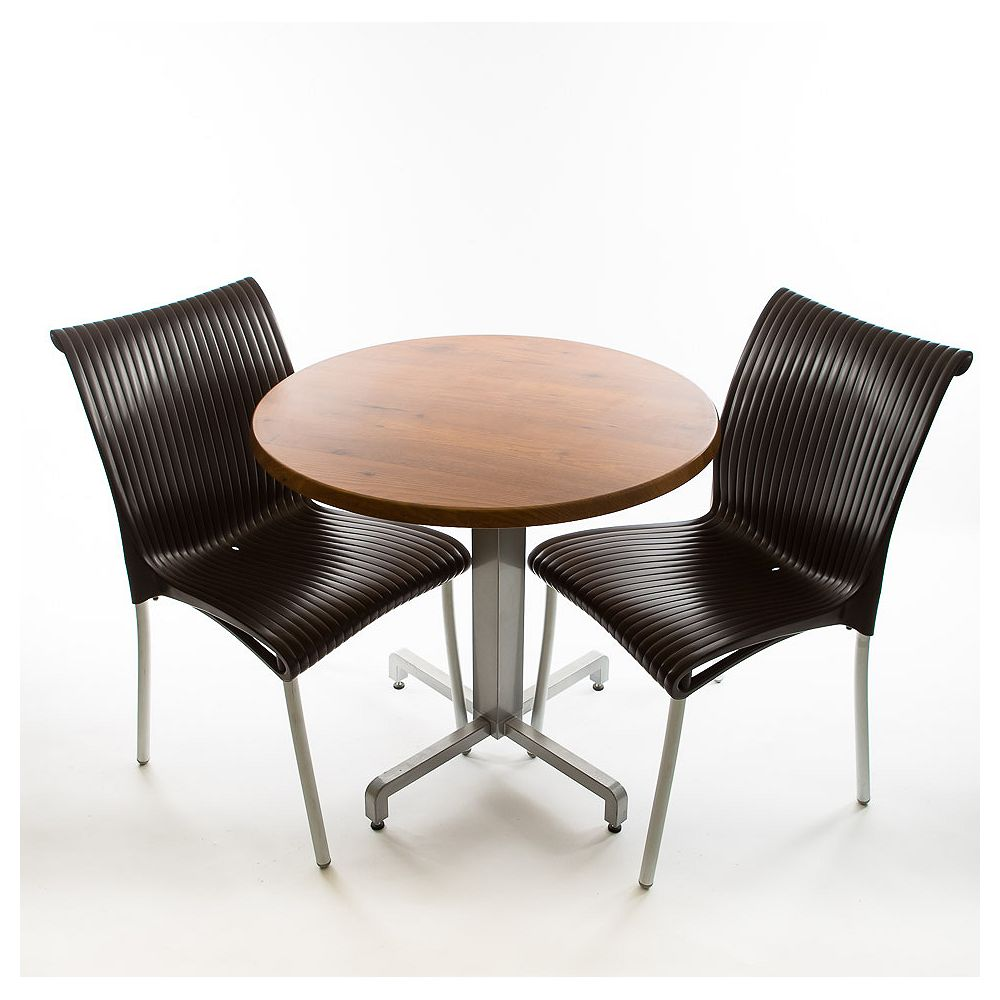 Nardi Nardi Bistro set - 2 x Regina Chairs (Anthracite), 1 x 30 Round Werzalit Top in  Pinie Design  and Aluminum Base