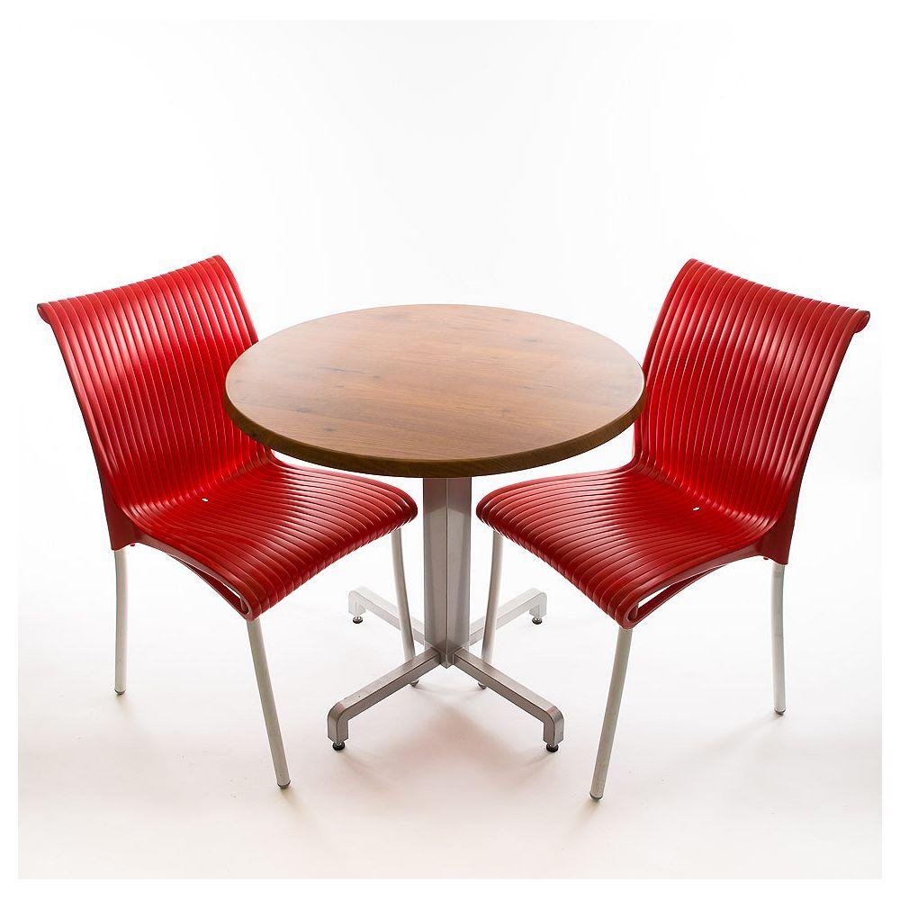 Nardi Ensemble bistro - 2 x chaises Regina (rouge), 1 x 30 chaises rondes Werzalit en pinie design et base en aluminium