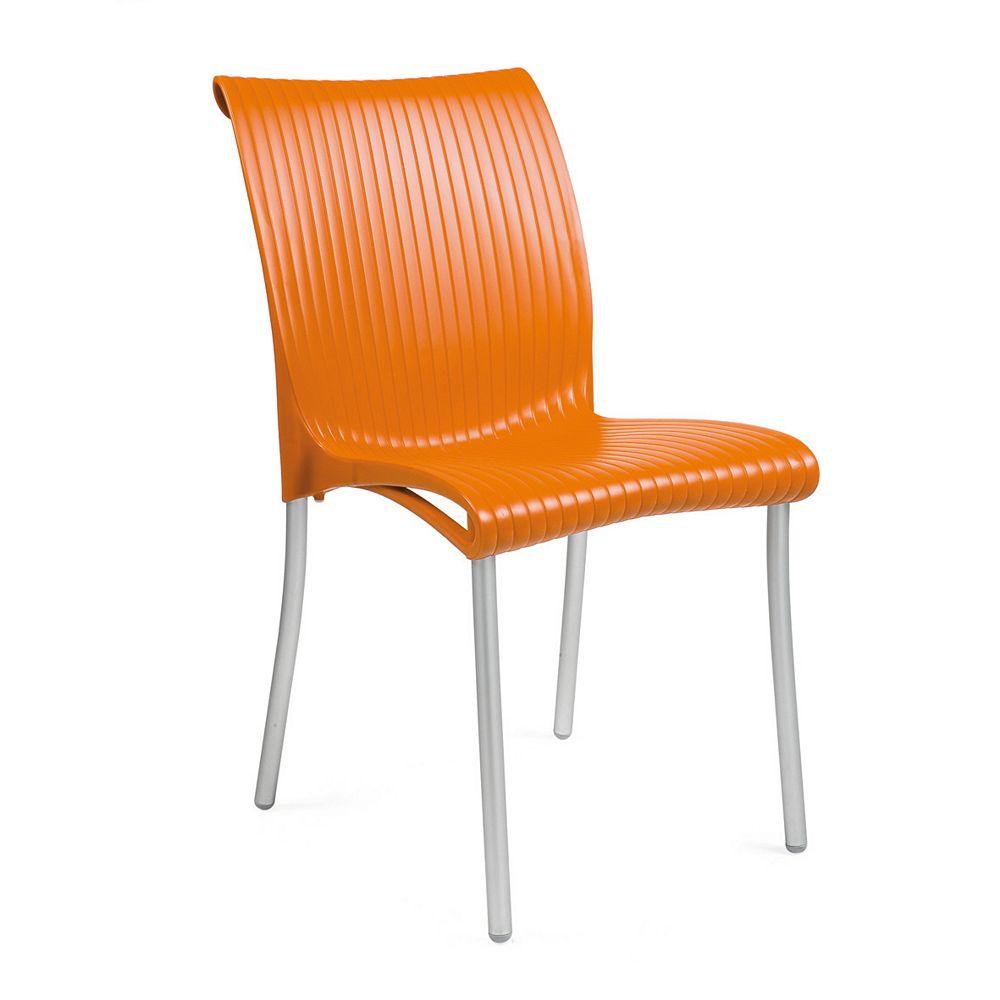 Nardi Paquet de 4 Chaises Regina empilables en résine avec pieds en aluminium anodisé -(Orange)