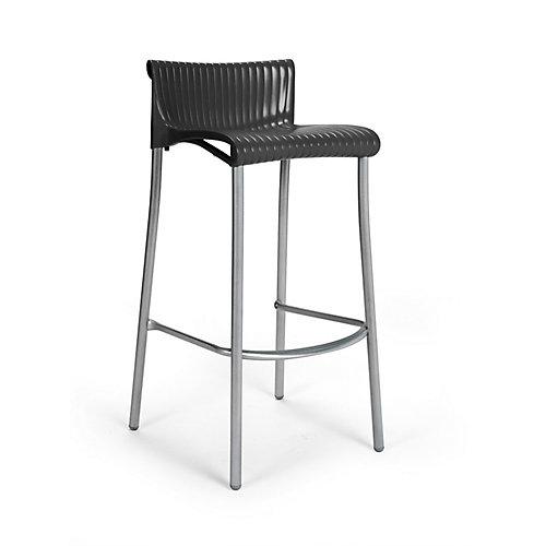 Paquet de 4 Chaises de Bar Duca empilables en résine avec pieds en aluminium anodisé -(Anthracite)