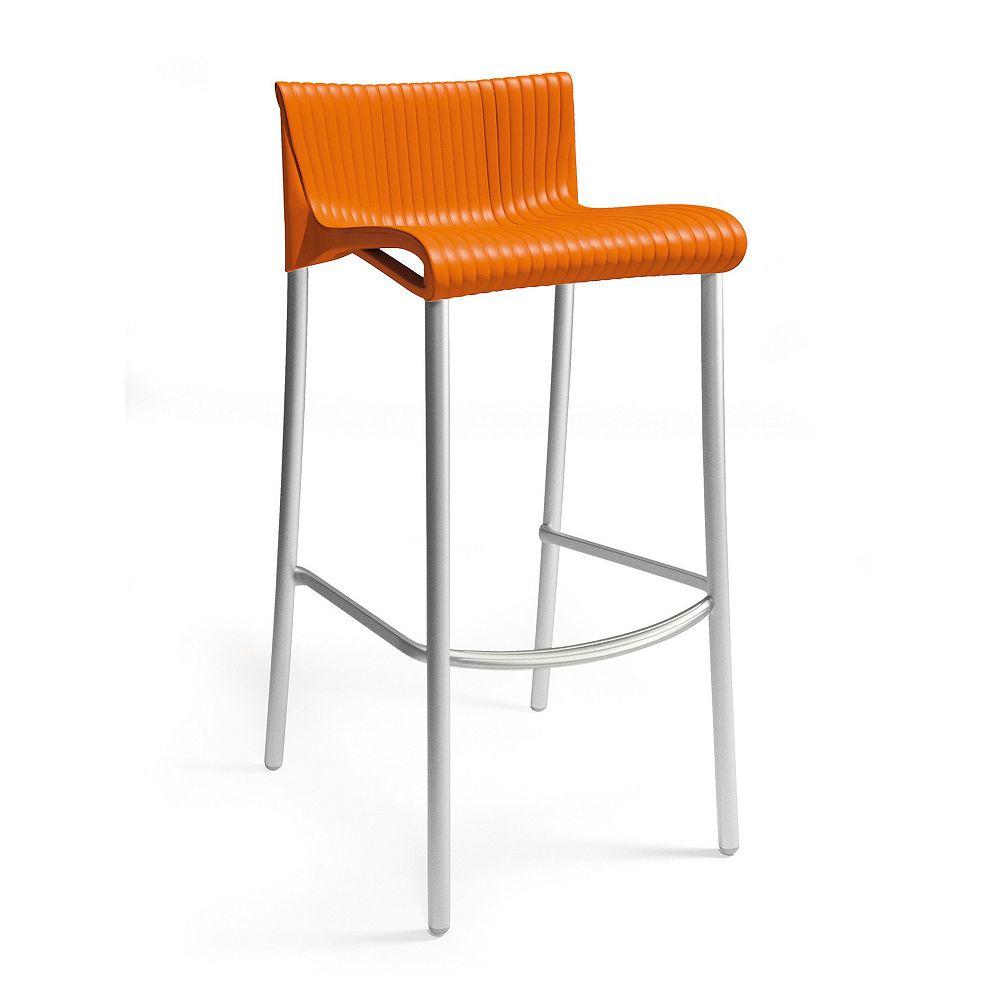 Nardi Stacking Resin Barstools with Anodized Aluminum Legs in Orange (Set of 4)