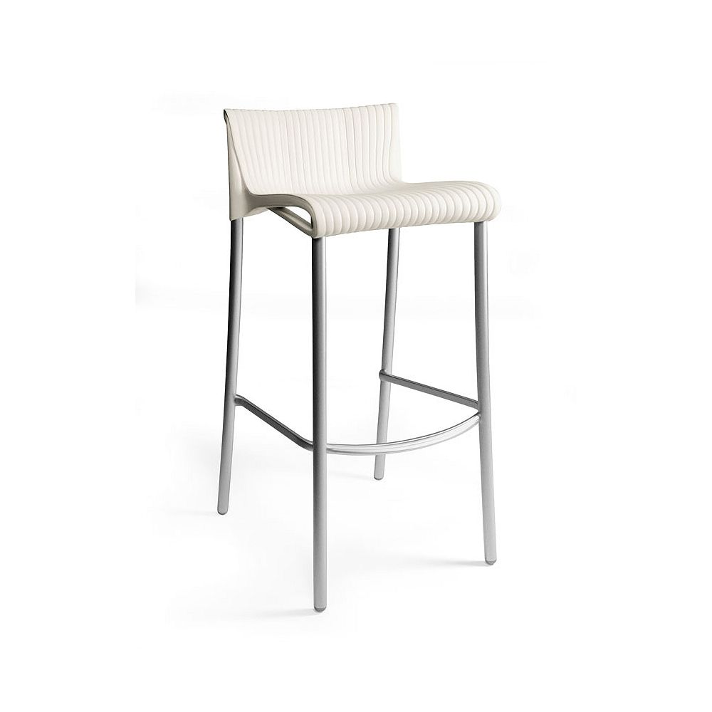 Nardi Duca Stacking Resin Patio Barstools with Anodized Aluminum Legs in White (4-Pack)