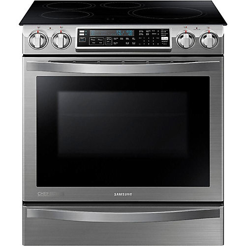 Chef Collection 5.8 cu. ft. Slide-in Induction Range with Flex Duo Oven in Stainless Steel