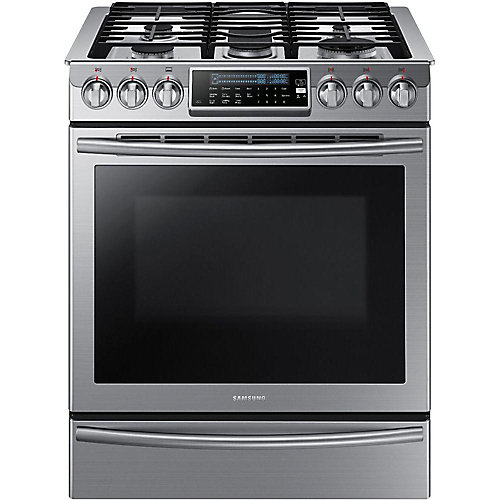 30-inch 5.8 cu. ft. Slide-In Gas Range with Self-Cleaning Convection Oven in Stainless Steel