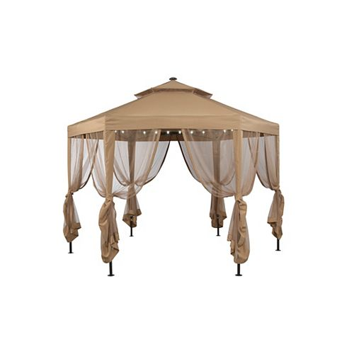Hampton Bay 10 ft. x 10 ft. Steel Gazebo with Netting and Solar Lighting