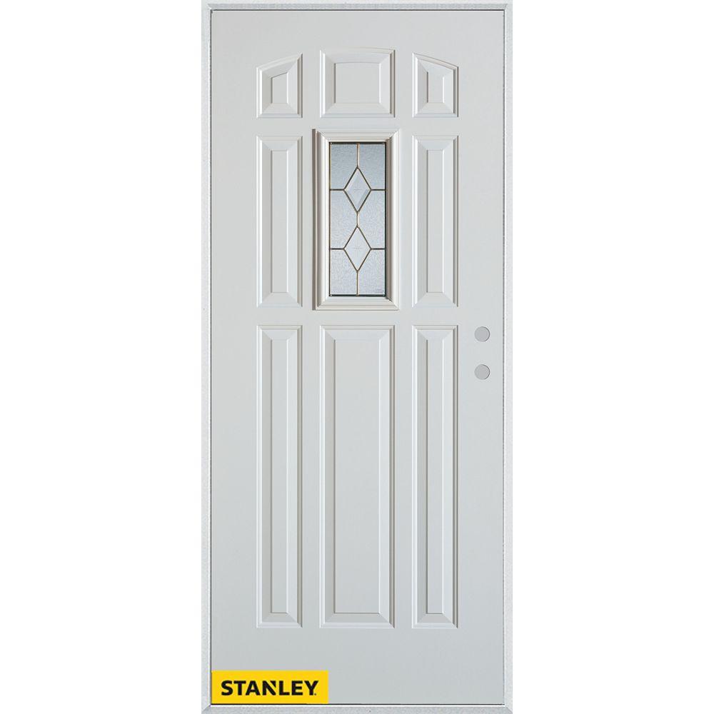 STANLEY Doors Porte dentrée en acier préfini blanc, munie de 9 panneaux et un verre rectangulaire patina, 34 po x 80 po - Gauche - ENERGY STAR®