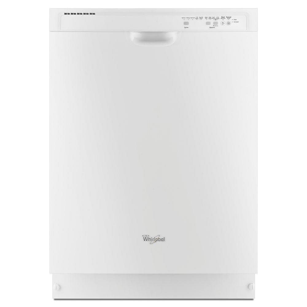 Whirlpool Front Control Dishwasher in White with Plastic Tub, 53 dBA - ENERGY STAR®