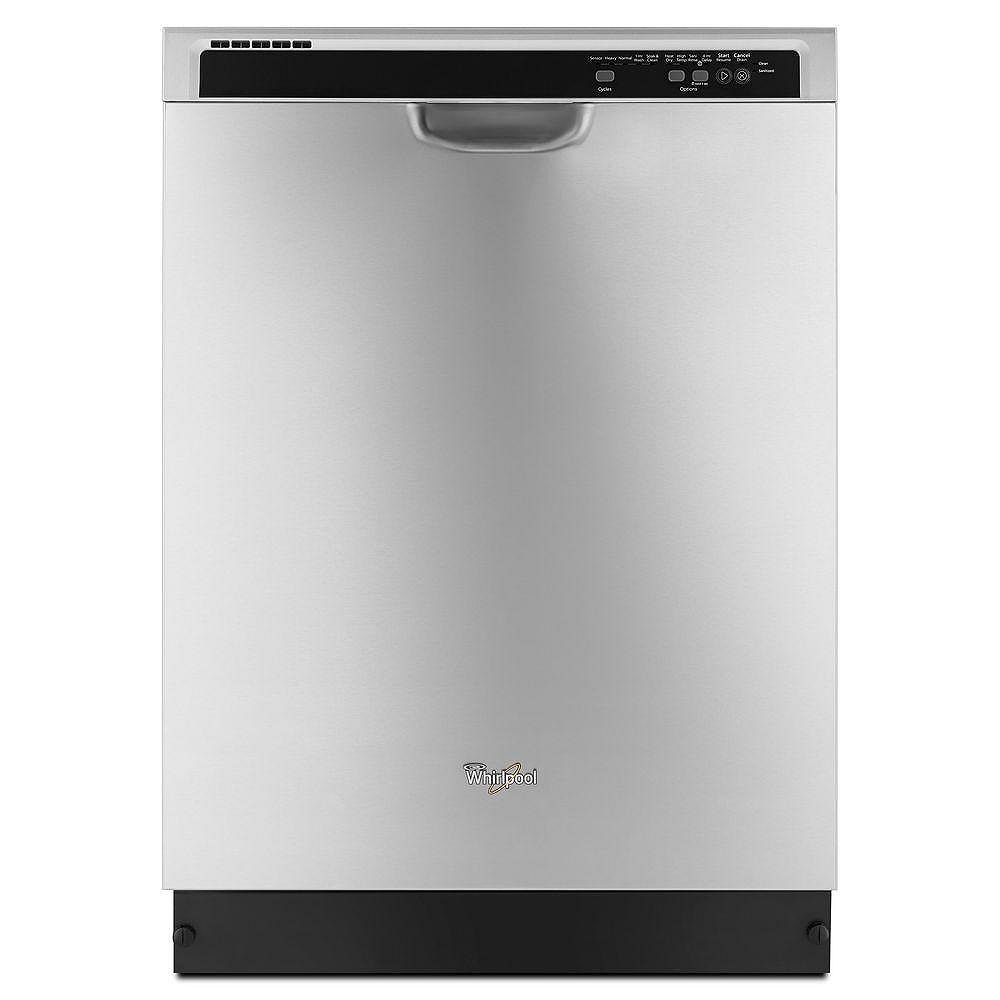 Whirlpool Lave-vaisselle à commande frontale en acier inoxydable avec cuve en plastique, 53 dBA - ENERGY STAR