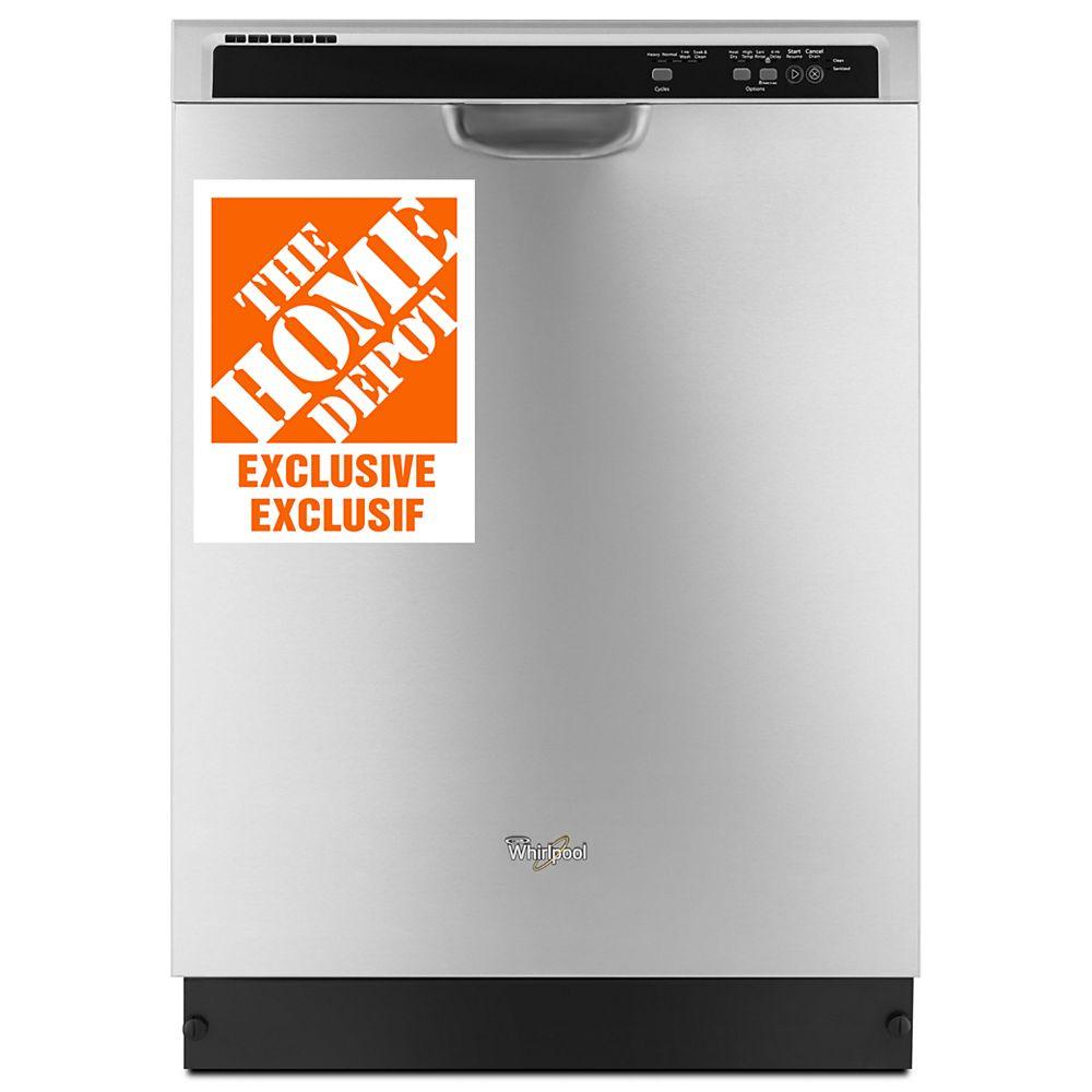 Whirlpool Lave-vaisselle encastré à commande frontale en acier inoxydable, 55 dBA - ENERGY STAR